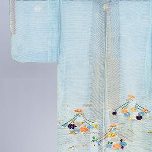 浅葱絽地杏葉紋付花舟模様単衣